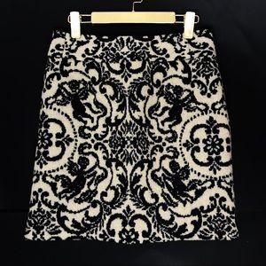J McLaughlin Wool Pencil Skirt Jacquard Print
